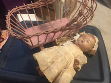 Vintage Old Bisque Doll Lot With Bed 10 Inch And 14 Inch