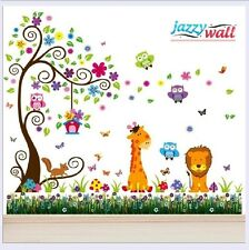 Lion Giraffe Scroll Tree Animal Wall Stickers Decals Nursery Room Home Art Decor