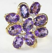 CONTEMPORARY 14K G0LD 9 CARAT AMETHYST DIAMOND COCKTAIL LADIES RING SIZE 11.5