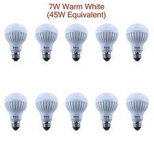 10 pcs 45W Equivalent 7W Soft Warm White A19 LED Light Bulb Lamp E26 E27 110V