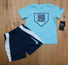 Nike Boy 2 Piece T-Shirt & Shorts Set ~ Aqua, Navy Blue & White ~