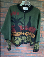 Pure Wool Cardigan Medium Long Sleeve Iceland Pullover Sweater Button Front