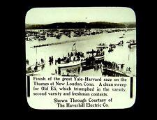 3 Magic Lantern Slides Harvard Lot Yale Race 1915 Crew Sculling Confetti Battle