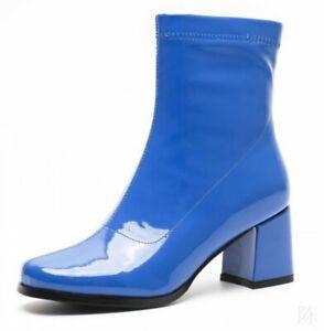 Trendy Street Women Patent Leather Block Heel Square Toe Biker Ankle Boots Motor