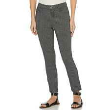 422100d55 Rafaella Womens Printed Knit Twill Skinny Slim Fit Ankle Length Pant, BLACK  16