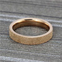 Size Fashion Jewellery Women's Rose Gold Stainless Steel Frosted Band Ring
