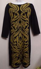 Nine West XS UK4 EU32 US0 black and green knitted 3/4 sleeve jumper dress