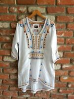 BIYA ~ JOHNNY WAS ~ JWLA~  White Cotton Embroidered  Festival Tunic Top ~ XS