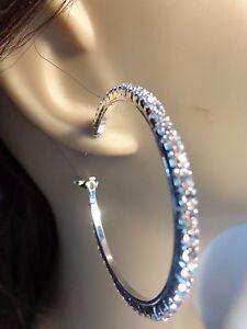 2 inch HOOP EARRINGS CRYSTAL RHINESTONE HOOP EARRINGS SILVER RHODIUM PLATED HOOP
