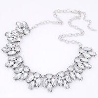 Clear Rhinestone chunky bib choker statement vintage Wedding  Party Necklace