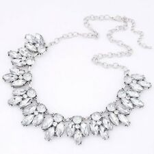 Clear Rhinestone chunky bib choker statement vintage Wedding  Party Necklace