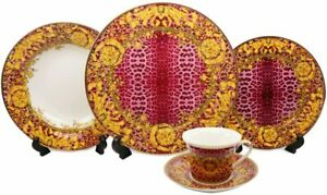 Royalty Porcelain 20 Pc Luxury Leopard Dinner Set, Premium Bone China (Pink)