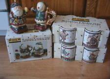 Set of 10 DEBBIE MUMM Sledding Characters Mugs Sugar Creamer Santa Snowman Lot