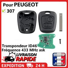 Clé vierge + électronique avec transpondeur pour PEUGEOT 307 Phase 1 2001-2005