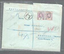 SIERRA LEONE (P3005B) 1907 KE 2D+3D REG VIA SOUTHAMPTON TO GERMANY
