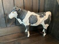 Antique Large Wooden Putz? Toy Primitive Spotted Cow Glass Eyes Americana
