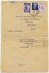 TURKEY to BRITISH FLEET MAIL OFFICE ALEXANDRIA RASELPINS 1942