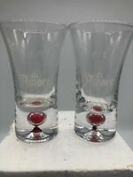 "Set of 2 Di Amore ""Red Bubble"" Shot Glass - Heavy Ball Bottom - White Logo"