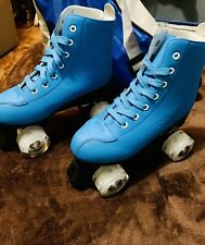 New listing Women's Leather Blue High-Top Roller Skates; Size 6.5; Comes With Bag