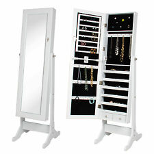 White Mirror Jewelry Cabinet Armoire W/ Stand Mirror Rings, Necklaces, Bracelets