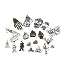 Pack of 20 Multi-colored Vintage Metal Alloy Pumpkin Ghost Skull Pendants Charms