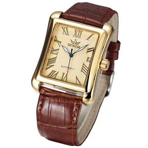Sewor Mens Tonneau Luxury gents Wrist watch 741-1 Automatic Mechanical Fashion