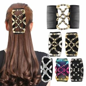 Styling Tool Magic Hair Comb Double Comb Elastic Hairpin Beaded Hair Clip @I