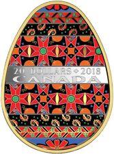 CANADA 2018 $20 Spring Ukrainian Pysanka Egg Shaped  Silver Gold Plated Coin