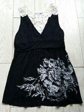 Moa Moa V-neck Sleeveless Shirt Tank Top size large L - black/ivory/flowers