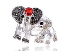 Lovely Mother Baby Family Ruby Silver Crystal Rhinestone Elephant Custom Ring