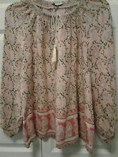 Lucky Brand Shirt L Rosy Pink Tan Black Sage Floral Tassle Tie 3/4 Sleeve EUC