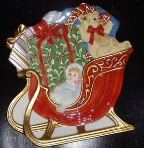 Fitz and Floyd Retired Teddy's Christmas Canape Plate 2003 Handcrafted 2078/40