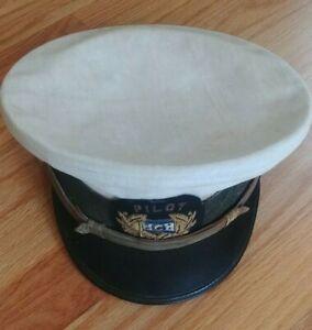 Vintage PILOT Hat Pilot's Cap No Brand No Size QUALITY white hat embroidered