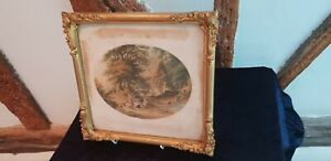 Antique 19C Le Blonde and Co oval print, The Blackberry gatherers, gilded frame