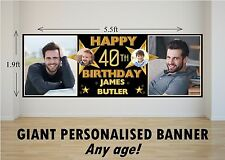 Personalised Giant Large Happy Birthday Banner Gold Stars 18th 21st 30th N60