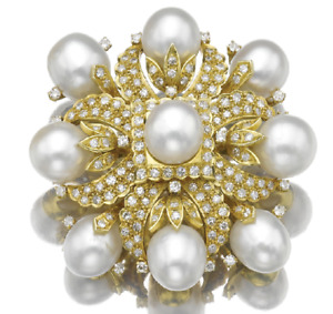 3.60ct NATURAL ROUND DIAMOND PEARL GEMSTONE 14K SOLID YELLOW GOLD BROOCH