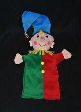 Peluche doudou marionnette clown TCM TCHIBO vert rouge bonnet bleu grelot TTBE