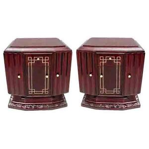 French 1920 Art Deco Nightstands, pair  #6318