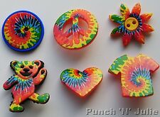 TIE DYED FUN - Hippy Festival Flower Peace Sign Teddy Dress It Up Craft Buttons