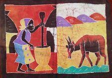 Batik africain de Cote d'Ivoire femme au mortier et gazelle