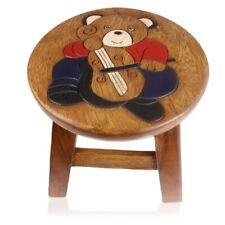 """Hocker """"Teddybär mit Cello""""  Holz Kinderhocker Stuhl Tisch Schemel RundhockerNEU"""