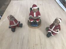 Set Of 3 Tom Clark Gnomes Santa Claus One Shelf Sitter Santa's Good Book 5498
