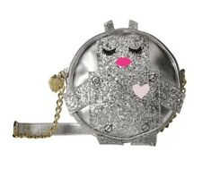 Luv Betsey Johnson Robbi Robot Glitter Round Crossbody, Silver Chain Strap Bag