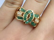 14K Solid Yellow Gold Cluster Bow Diamond Ring With Natural Emerald, Sz8.5