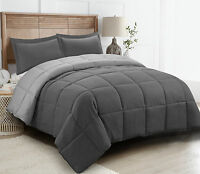 3 Piece All-Season Reversible Down Alternative Hypoallergenic Comforter Set