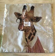 """Pillow Cover Case Cotton Linen Throw  18""""x18"""", Giraffe April"""