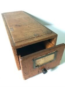 Vintage Oak Wood Card Catalog Drawer - Library Catalog Drawer 3x5 cards