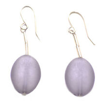 & Easy Hook Chrome Earrings(Zx201) Minimalistic & Sublime -translucent Grey Oval