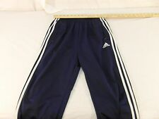 Adult Men's Vintage Adidas Three White Stripes Blue Break Away Long Pants 30860