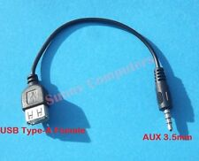 New 3.5mm Male AUX Audio Plug Jack to USB 2.0 Female Converter Cable Cord Black